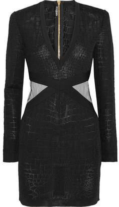 Mesh-trimmed Croc-effect Stretch-knit Mini Dress - Black