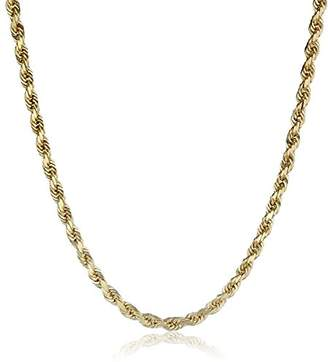 Men's 14k Solid 4mm Wide Diamond-Cut Rope Chain Necklace