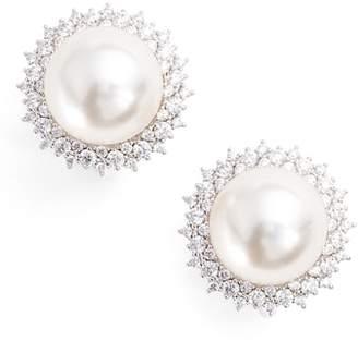 Nadri Imitation Pearl Clip Stud Earrings