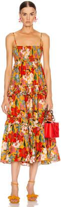 Nicholas Smocked Prairie Dress/Skirt in Tangerine Multi   FWRD