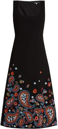 Andrew Gn Embellished sleeveless wool-blend crepe dress