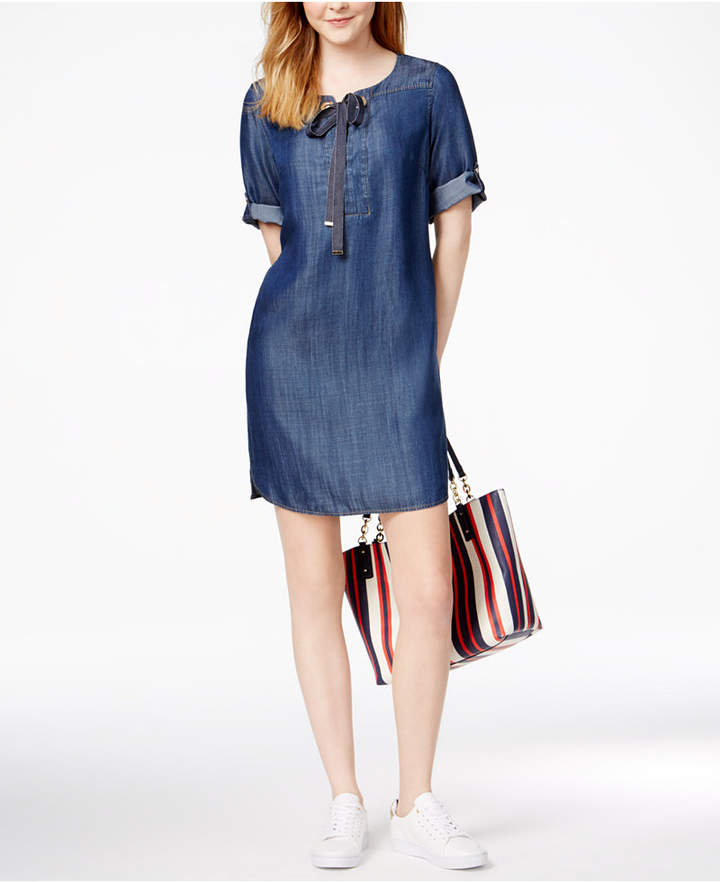 Tommy Hilfiger Grommet-Detail Shift Dress, Only at Macy's