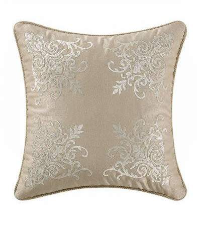 Britt Damask-Embroidered Pillow, 16