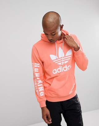 adidas x Pharrell Williams Hu Hiking Hoodie With Arm Print In Pink CY7875