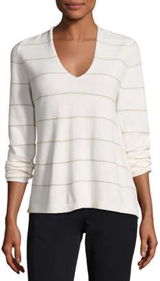 Lafayette 148 New York V-Neck Striped Cashmere Sweater, Cloud Multi