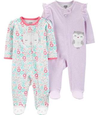 Carter's Child of Mine by Button-up sleep n play pajamas, 2pk (baby girls)