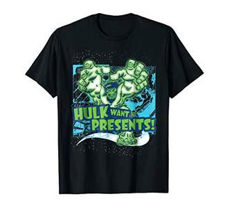 Marvel Hulk Want Presents Halftone Christmas Graphic T-Shirt