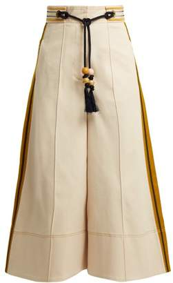 Peter Pilotto High Rise Wide Leg Twill Trousers - Womens - White