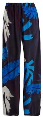 Kalmar - Palm Print Wide Leg Silk Trousers - Womens - Blue Multi
