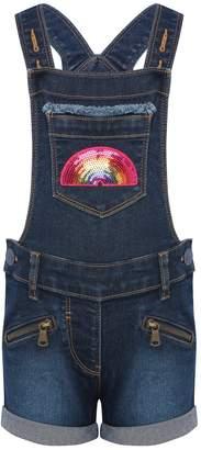 M&Co Sequin rainbow denim dungarees