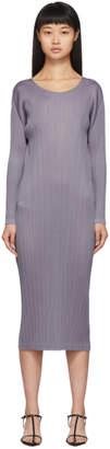 Pleats Please Issey Miyake Grey Pleated Long Sleeve Dress