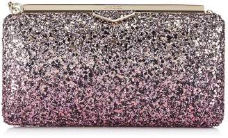c790295c249 Jimmy Choo ELLIPSE Candyfloss and White Sand Party Coarse Glitter Degrade  Fabric Clutch Bag