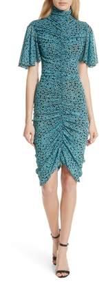 Diane von Furstenberg Floral Ruched Flutter Sleeve High Neck Dress