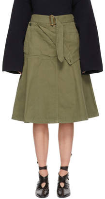 J.W.Anderson Green Fold Front Utility Skirt