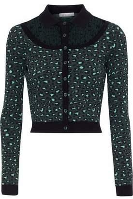 RED Valentino Point D'esprit-Paneled Leopard-Print Jacquard-Knit Cardigan