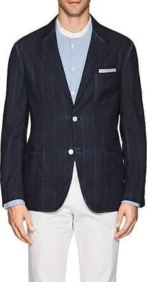 Massimo Alba Men's Striped Linen-Cotton Two-Button Sportcoat - Navy