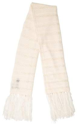 360 Cashmere Knit Fringe-Trimmed Scarf w/ Tags
