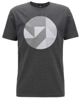BOSS Hugo Slim-fit cotton T-shirt Anni Albers-inspired artwork M Black