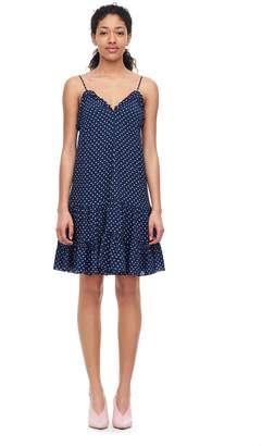 Rebecca Taylor Ikat Dot Print Silk Tank Dress