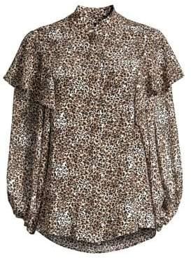 Saloni Chloe Ruffled Leopard Blouse