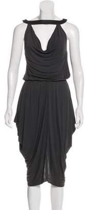 Michael Kors Leather-Trimmed Midi Dress