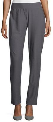 Eileen Fisher Washable-Crepe Straight-Leg Pants, Ash $168 thestylecure.com