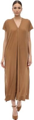 Agnona Long Cashmere Knit V Neck Dress