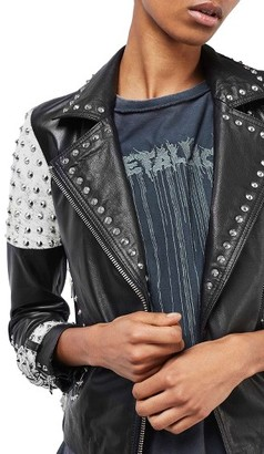 Women's Topshop Maddox Studded Leather Jacket $420 thestylecure.com