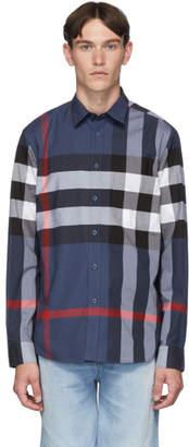Burberry Blue Slim Check Shirt