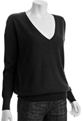 Autumn Cashmere black cashmere v-neck boyfriend sweater