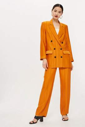 Topshop Orange Striped Jacket