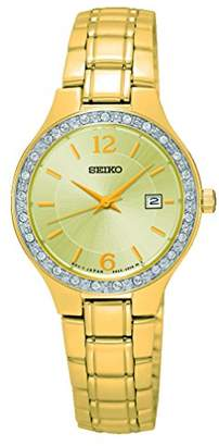 Seiko Ladies Champagne Face Gold Tone With Swarovski Bezel SUR782P1