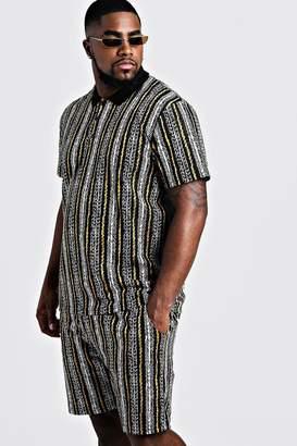 boohoo Big & Tall Stripe Jacquard Polo