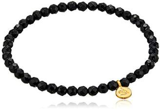 Satya Jewelry Onyx Mini Om Stretch Bracelet (4-Millimeter)