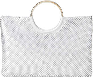 Jessica McClintock Silver Sonia Metallic Mesh Top Handle Bag
