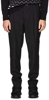 Prada Men's Belted Wool-Mohair Pleated Trousers