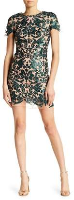Dress the Population Megan Short Sleeve Sequin Mesh Overlay Dress