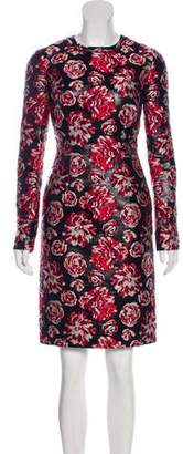Lanvin Embroidered Long Sleeve Knee-Length Dress