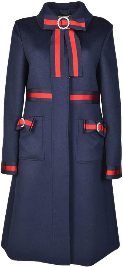 Gucci Web-Trimmed Coat