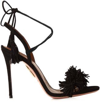 AQUAZZURA Wild Thing fringed suede sandals $785 thestylecure.com