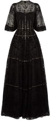 Costarellos Devore Velvet Corset Gown