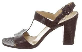 Saint Laurent Embossed T-Strap Sandals