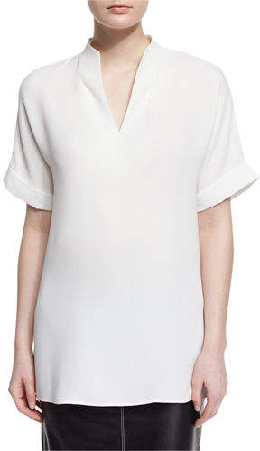 Lafayette 148 New York Josie Short-Sleeve Silk Blouse, Plus Size
