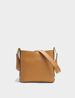 Lancel Max S Zip Crossbody Bag in Camel Grained Leather
