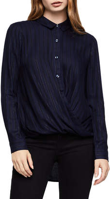 BCBGeneration Metallic Stripe Button-Down Wrap-Hem Top