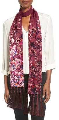 Women's Collection Xiix 'Folk Floral' Tassel Skinny Scarf $38 thestylecure.com
