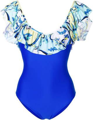 Emilio Pucci ruffled printed swimsuit