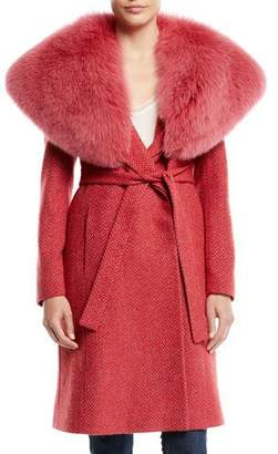 Fleurette Wrap Coat w/ Wide Fur Collar