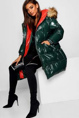 boohoo Coated Hooded Puffer Jacket