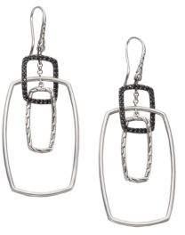 John Hardy Classic Chain Black Sapphire & Sterling Silver Rectangular Drop Earrings